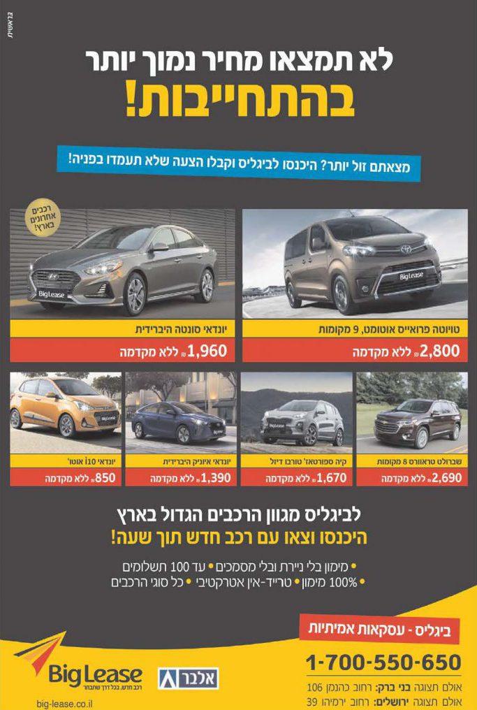 סקירת קטגוריה - רכב: המפרסמים המובילים בעיתוני המגזר החרדי 2